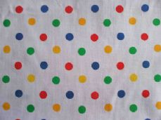 White with 8mm Multi Spot Polyotton Fabric